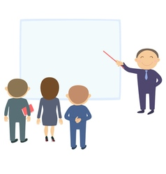 Man with pointer near the board vector