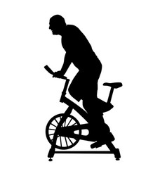 man work out in gym on exercise bike silhouette vector image