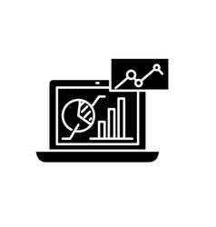 marketing analysis black icon sign on vector image