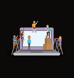 Mini people with laptop computer vector