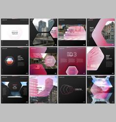minimal brochure templates with hexagonal design vector image
