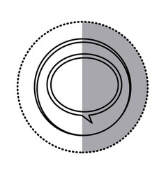 monochrome contour with circle sticker of speech vector image