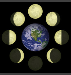 Moon phases and planet earth vector