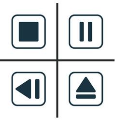 Music icons set collection of mute song last vector