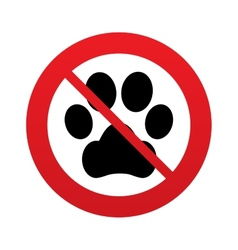 No Dog paw sign icon Pets symbol vector image