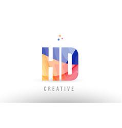 Orange blue alphabet letter hd h d logo icon vector