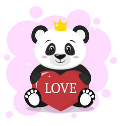 panda in the crown sits and holds in the paws a vector image