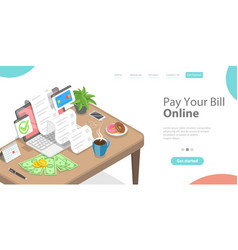 pay your bills online secure electronic shopping vector image