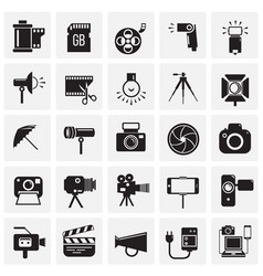 Photography and videography icon set on squares vector