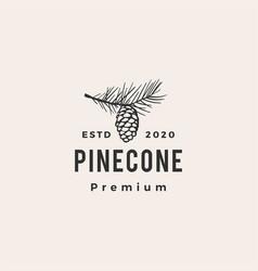 pine cone hipster vintage logo icon vector image