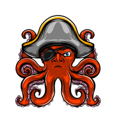 pirates octopus has only one eye and his vector image