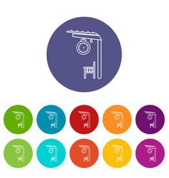 Platform railway icons set color vector