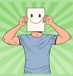 pop art man with smiley emoticon on paper sheet vector image