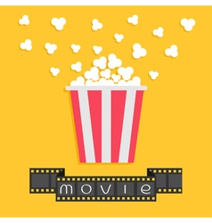 Popcorn Film strip ribbon Red yellow box Cinema vector image