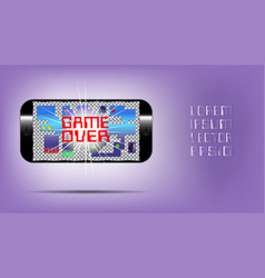 Poster with a mobile gadget letterings game over vector