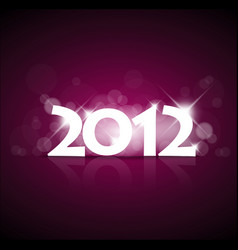 purple new year card 2012 with back light vector image