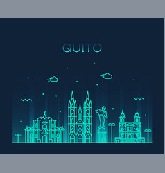 quito skyline ecuador city linear style vector image