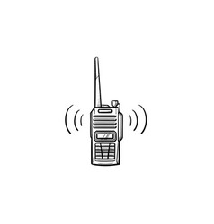 radio set with antenna hand drawn outline doodle vector image