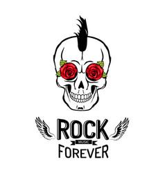 rock forever skull poster vector image