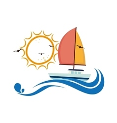Sailboat maritime emblem icon vector
