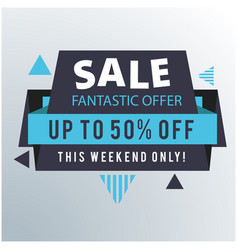 sale fantastic offer up to 50 off ribbon blue bac vector image