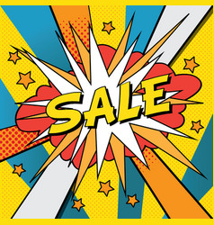 sale pop art banner vector image