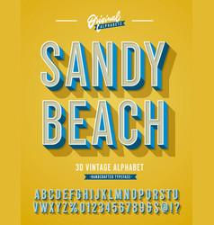 Sandy beach vintage 3d stylish alphabet vector