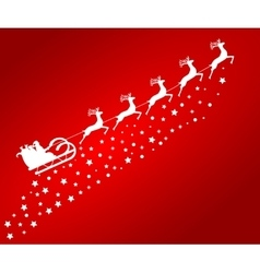 Santa Claus in sled rides in the reindeer on a vector