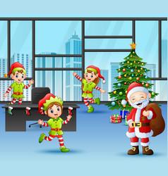 Santa claus with some elves celebration a christma vector