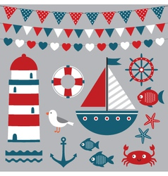 Sea design elements set vector image
