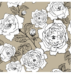 seamless pattern of wild roses blossom branch vector image