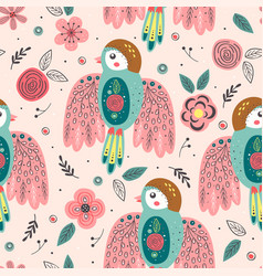 seamless pattern with beautiful spring bird vector image