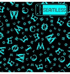 Seamless vintage pattern with cyan curved letters vector