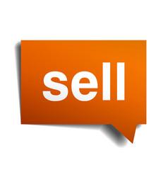 Sell orange speech bubble isolated on white vector