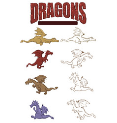 set color and line art dragons for sticker vector image
