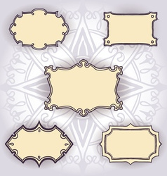 Set of freehand drawn frames on floral background vector