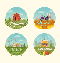 set of isolated farming logo or banners with barn vector image