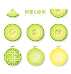 set of melons in paper art style vector image