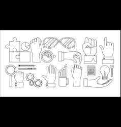 Set of office elements vector