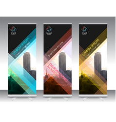 Set of vertical abstract display banner stand or vector