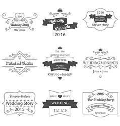 set wedding labels and insignias vector image