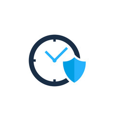 shield time logo icon design vector image