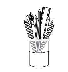 Silhuette coloured pencils in jar icon vector