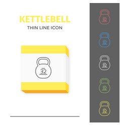 simple line stroked kettlebell icon vector image