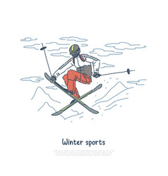Skier in sportswear jumper training vector