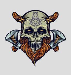 skull viking warrior with axe vector image