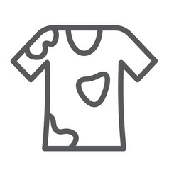 Stain removal line icon laundry and dirt t-shirt vector