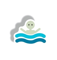 Stylish icon in paper sticker style man swimmer vector