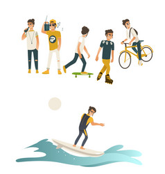 Summer active recreations set with guy isolated on vector
