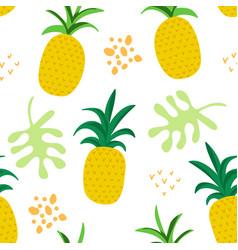 tropical flowers leaves pattern pineapples summer vector image